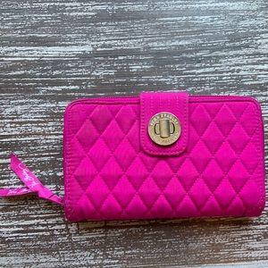 Vera Bradley Fuschia Pink Turnlock Large Wallet